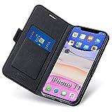 Aunote Hülle iPhone 11, Schutzhülle iPhone 11 mit Kartenfach und Ständer, Handyhülle Tasche Leder, Etui Folio, Flip Cover Case, PU TPU Klapphülle,...