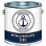 Metallschutzlack 3in1 SEIDENMATT Anthrazitgrau RAL 7016 Grau Metallschutzfarbe 3-in-1 Grundierung, Rostschutz und Deckanstrich in Einem Metalllack Metallfarbe...