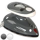 Jago® Mini Bügeleisen - 260-420 W, Antihaft Bügelsohle, Wassertank 40 ml, 100-240 V Netzspannung umschaltbar, mit/ohne Dampf, in Weiß oder Grau -...