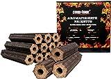 com-four® 10 Kg Holzkohle-Briketts aus Apfelholz, 100% natürliche Holz Grillkohle für Smoker-, Kugel- und Standgrills (10kg - Briketts aromatisiert)