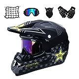VOMI Motorrad Crosshelm mit Brille (5 Stück) - Schwarz/Rockstar - Adult Motocross Helm Erwachsener Off Road Fullface MTB Helm Mopedhelm Motorradhelm für Damen...