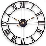 Große Wanduhr, Europäische Retro-Uhr mit Großen Römischen Ziffern, Leise Batteriebetriebene Metalluhr für Zu Hause, Wohnzimmer, Küche und Arbeitszimmer -...