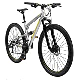 BIKESTAR Fully Aluminium Mountainbike Shimano 21 Gang Schaltung, Scheibenbremse 29 Zoll Reifen | 17.5 Zoll Rahmen Alu MTB Vollgefedert | Grau