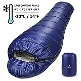 Bessport Schlafsack Winter | -10°C Outdoor Mumienschlafsack für Camping und Bergsteigen mit Ultraleichter und Ultrakompakter 100% Sprüh Gebundene Baumwolle...