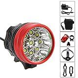 FIVEFIRE 18000LM 9x CREE XM-L T6 wasserdicht Fahrradlicht , Scheinwerfer, Kopflampen, Stirnlampe, Fahrrad Vorderes Leuchtturm, 3 Modes mit 6 x 18650...
