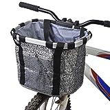 Haobing Fahrradkorb Vorne Faltbare Abnehmbare Wasserdichte Hunde Fahrradtasche für Lenker Fahrradtaschen Gepäckträger (Grau)