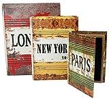 emartbuy 3Er Set Andenken, Vintage, Geld, Schmuck, Schlüssel, Geheime Buch Aufbewahrungsbox Geschenk-London New York Paris