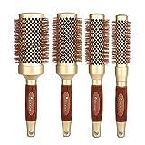 4 Professionelle runde Haarbürsten Haar Set 4 runde Keramikbürsten, erhältlich in 4 verschiedenen Größen: 2,5 cm, 3,3 cm, 4,3 cm, 5,3 cm (Gold)