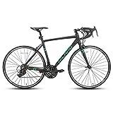 Hiland Rennrad 700c Rennrad Aluminium City Commuter Fahrrad mit 21 Geschwindigkeiten Schwarz 53CM