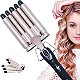 Lockenstab, 5 Dreifache Fässer lockenstäbe Haarwickelzange Hair Waver Pearl Waving Lockenwickler, Wellenstyler Turmalin Keramik Digitale Temperaturanzeige...