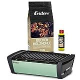 Enders Aurora Starterset Mint - Raucharmer Tisch Grill im Set mit Holzkohle und Anzündpaste - mobiler Holzkohle-Grill, rauchfrei, für Balkon, Picknick,...