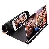 HWeggo 12 Zoll 3D Handy Bildschirmlupe, HD Stereoskopisch Handy Bildschirm Verstärker, Anti-Strahlung Handy Film Spiel Video Vergrößerer mit Faltbarem...