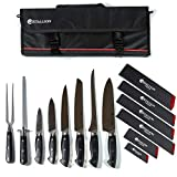 Stallion Professional Messer - bestückte Messertasche mit sechs Messern, Wetzstahl und Fleischgabel - Klingen aus deutschem 1.4116 Messerstahl und Griff aus...
