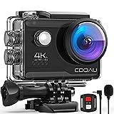 COOAU Action Cam HD 4K 20MP WiFi mit externem Mikrofon Unterwasserkamera 40M mit Fernbedienung EIS Stabilisierung Kamera Wasserdicht 170° Weitwinkel Time Lapse...