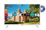 Telefunken XH32J511D-W 32 Zoll Fernseher (Smart TV inkl. Prime Video / Netflix / YouTube, HD ready, DVD-Player, Works with Alexa, Triple-Tuner) [Modelljahr...