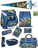 Familando Dinosaurier Schulranzen-Set 10 TLG. Scooli Campus FIT mit Federmappe, Sporttasche, Schultüte 85cm Schleich Dinosaur und Regenschutz
