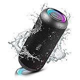 RIENOK Bluetooth Lautsprecher tragbar kabellos Musikbox 30W extra Bass LED Lichteffekte wasserdicht IP67 Mikrofon und TWS Stereo Sound Bluetooth 5.0