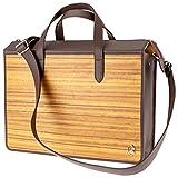 Laptop-Tasche James | Gefertigt aus Echtholz Typ Amazaque und Rindleder | Notebook-Tasche 15' Braun | by Sebastian Sturm