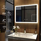 Meykoers Wandspiegel Badezimmerspiegel LED Badspiegel mit Beleuchtung 80x60cm, Spiegel mit Uhr, Touch-Schalter und Beschlagfrei Lichtspiegel Kaltweiß 6400K