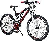 KRON ARES 4.0 Vollgefedertes Kinder Mountainbike 24 Zoll ab 10, 11, 12, 13, 14 Jahre | 21 Gang Shimano Kettenschaltung mit V-Bremse | Kinderfahrrad 15 Zoll...
