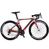 SAVADECK Phantom 8.0 700C Carbon Rennrad Fahrrad mit Campagnolo Chorus 22 Geschwindigkeitsgruppe Michelin 25C Reifen und Fizik Sattel (50cm, Weiß Rot)