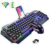 Hoopond Wireless 2.4G wiederaufladbares Gaming-Tastatur- und Maus-Set, große Kapazität, schnelles Aufladen, Regenbogen-LED-Hintergrundbeleuchtung,...