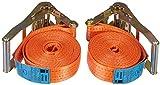 2er Set Braun Spanngurt 4000 daN, einteilig, für Profis, nach DIN EN 12195-2, geeignet für schwere Lasten für 2-achsige Anhänger, Farbe orange, 6 m Länge,...