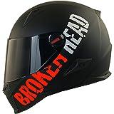 Broken Head BeProud Rot Ltd Motorradhelm - Schlanker Integralhelme Mit Schwarzem Zusatz-Visier - Matt-Schwarz - Größe M (57-58 cm)