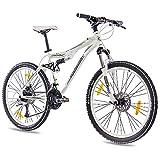 CHRISSON 26' Zoll TOP ALU Mountainbike Fahrrad CONTERO mit 24 Gang DEORE und Schwalbe und 2 x DISC Weiss grün matt