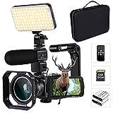 4K Camcorder mit optischem Zoom 10X Anschluss mit LED-Licht, Mikrofon, Weitwinkelobjektiv, mit Tasche für Kamera und 32 GB SD-Karte, unterstützt WiFi und...
