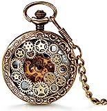 LANCARDO Damen Herren Taschenuhr Retro Zahnrad Ritzel Mechanische Kettenuhr Skelett Uhr Steampunk Automatik mechanisch Pocket Watch Bronze mit Halskette Pullover Kette