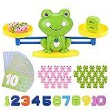 BBLIKE Montessori Mathe Waage Spielzeug, Zählen und Rechnen, Cartoon Tier Frosch Balance/Geschicklichkeit Spielzeug Lernspielzeug mit Waage und Zubehör für...