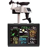 sainlogic Wetterstation Funk mit Außensensor, 8-in-1 Funk Wetterstation mit Wettervorhersage,Temperatur, Luftdruck, Luftfeuchtigkeit, Windmesser, Regenmesser,...