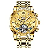 Verhux Herren Automatik Uhr Tourbillon Luxus Edelstahl Armband Skelett Mechanisch Uhren Geschenk für Männer