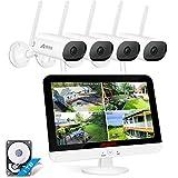 [Tonaufnahmen und 180° Schwenkbare] ANRAN 5MP Überwachungskamera Set Außen WLAN 13 Zoll 5MP HD LCD Monitor 8CH NVR mit 4X 3MP Kabellose wasserdichte...