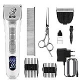 GHB Hundeschermaschine Schermaschine Katze Hunde Haarschneidemaschine mit LED-Bildschirm 9in1 Fellpflege Kit für Hund und Katze Andere Tiere (Verpackung...
