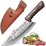Qijieda Küchenmesser Kochmesser Profi Messer - Ausbeinmesser mit Lederscheide, Ergonomischer Griff, Extra Scharfe Messerklinge, Zum Entbeinen, Schneiden von...