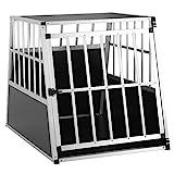 Cadoca Hundetransportbox L robust verschließbar aus Aluminium Autotransportbox Tiertransportbox 90x66x72cm
