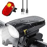 LIFEBEE LED Fahrradlicht Set, USB Wiederaufladbar Frontlicht und Rücklicht Set, Fahrradbeleuchtung, Wasserdicht Fahrradlampe Vorderlicht, 2 Modi Licht für...