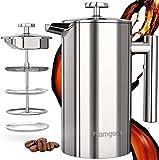 homgeek French Press Kaffeebereiter 304 Edelstahl, Kaffeebereiter Doppelwandig Isoliert 1 Liter (8 Tassen), Kaffeepresse mit 1 Extra Sieben, Kein...