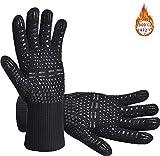 Senders Grillhandschuhe, Ofenhandschuhe Hitzebeständige bis zu 800 ° C Grill Handschuhe Universalgröße Kochhandschuhe Backhandschuhe rutschfeste mit Silikon...