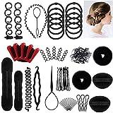 Ealicere 25pcs Haare Frisuren Set,Haar Zubehör styling set,Hair Styling Accessories Kit Set Haar Styling Werkzeug, Mädchen Magic Haar Clip Styling Pads Schaum...
