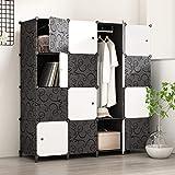 PREMAG Kunststoff Kleiderschrank Garderobe für hängende Kleidung, Kombischrank, modularer Schrank für platzsparende, ideale Aufbewahrung Organizer Cube für...