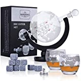 Harrison's Finest Glas Whiskey Dekanter-Set–850ml Globus-Dekanter mit Glas-Verschluss, 2geätzte Globus- Gläser, Edelstahl-Trichter und...