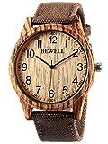 Alienwork Armbanduhr Herren Damen braun Canvas-Armband gelb Holzuhr Natur-Holz