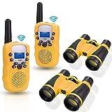 Anpro 2Stk Walkie Talkie Set mit 2Stk 5x30 Ferngläser, Kinder Funkgeräte 1-3KM Reichweite 8 Kanäle 2-Wege-Radio-Spielzeug mit Taschenlampe LCD Bildschirm...