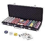 Display4top Pokerkoffer 500 Chips Laser Pokerchips Poker 12 Gramm , 2 Karten, Händler, Small Blind, Big Blind Tasten und 5 Würfel, Schwarz mit...