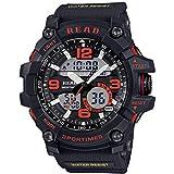 Uhren Read R90001 Luminous & Alarm & Date & Week Anzeige Funktion Quarz-Uhrwerk-Mann-Sport-Uhr mit Gummiband (orange) Asun (Color : Red)