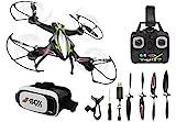 Jamara 422021 - F1X VR Altitude FPV Wifi Kompass Flyback - Race Drone, inklusiv VR-Brille, über Sender und App steuern, 3 Geschwindigkeiten, 40 KM/h,...