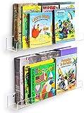 HIIMIEI Kinder Bücherregal, 2 er 62 × 11.5 × 9.5 cm Acryl Schweberegale Wandregal   Wandhalterung Wandablage, U-Form Wandboard/Badezimmer - Regale /...
